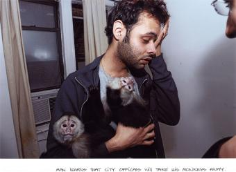 Man Learns that City Officials Will Take His Monkey Away, 
